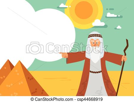 450x345 Moses From Passover Story And Egypt Pyramid Landscape . Vector