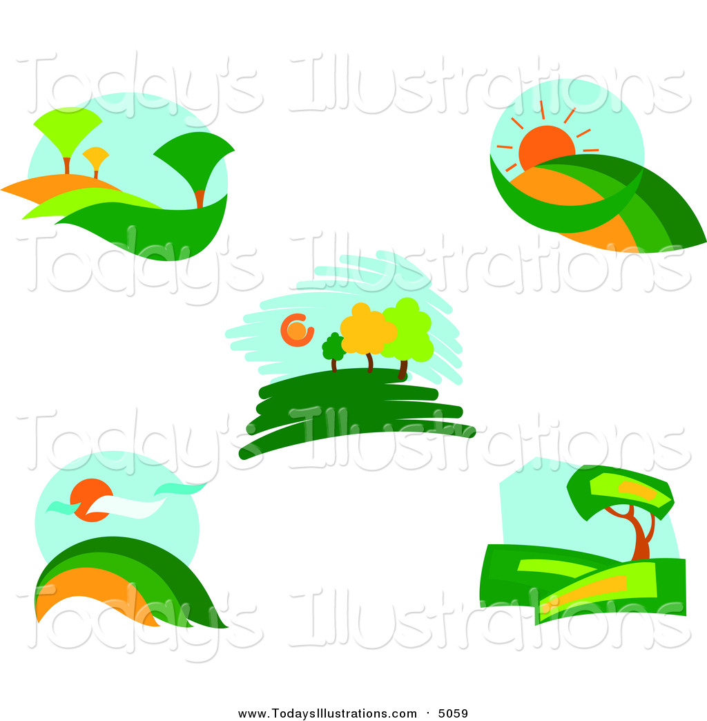 1024x1044 Clipart Of Bright Landscapes By Vector Tradition Sm