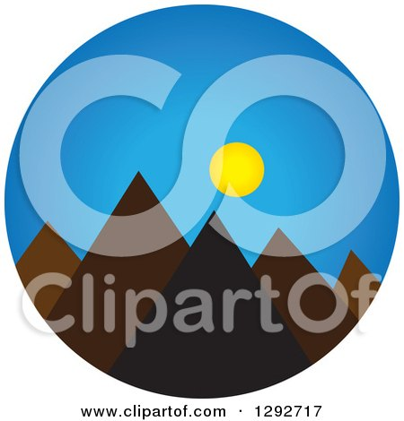 450x470 Clipart Of A Landscape Scene Of Mountain Peaks With The Sun