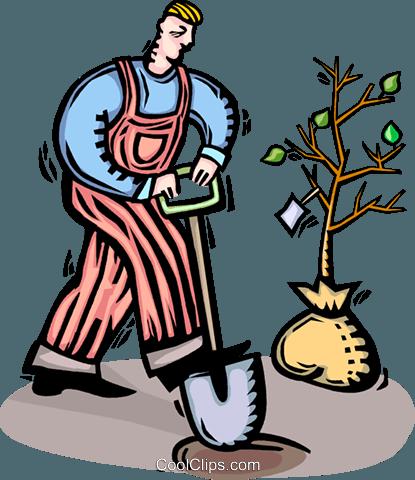 415x480 Gardener Planting A Tree Royalty Free Vector Clip Art Illustration