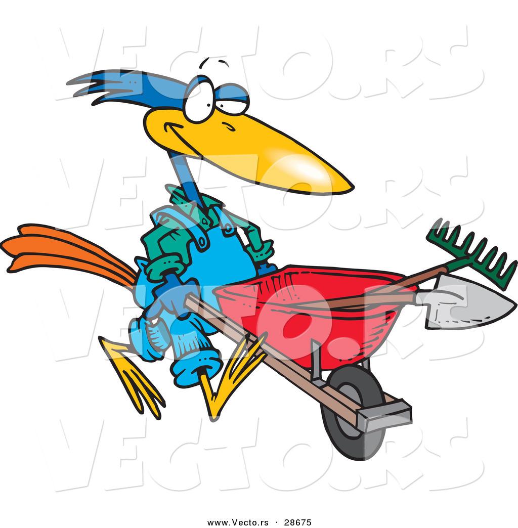 1024x1044 Vector Of A Cartoon Bird Pushing A Wheel Barrow With Landscaping