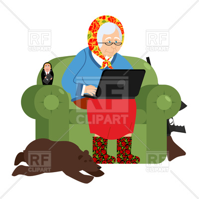 400x400 Russian Grandmother And Laptop Royalty Free Vector Clip Art Image