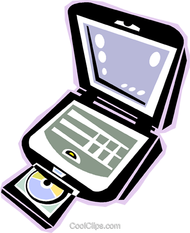 391x480 Laptop Computer With Cd Rom Drive Royalty Free Vector Clip Art