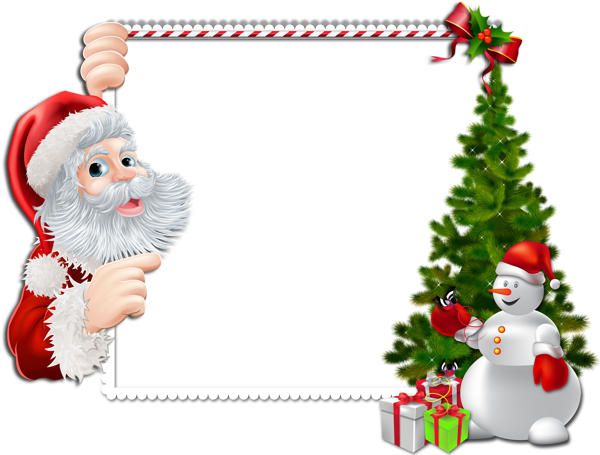 600x455 Large Christmas Png Frame With Santa And Snowman