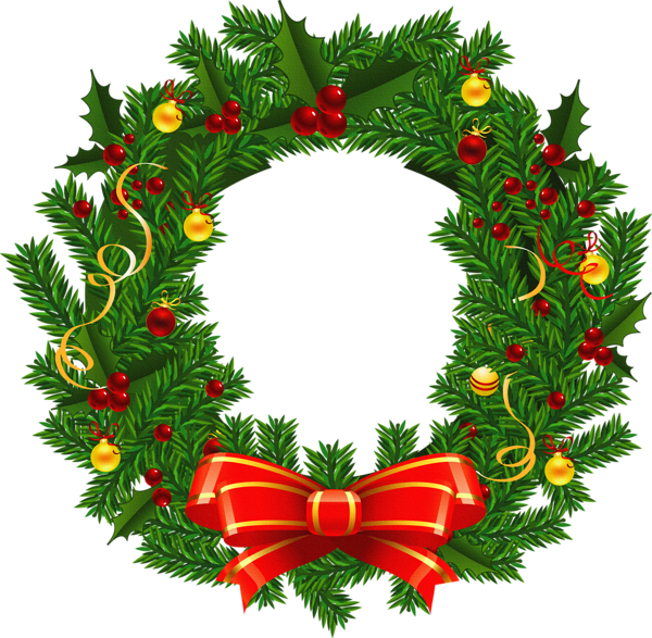 600x587 Large Transparent Christmas Wreath Png Picture Clipart