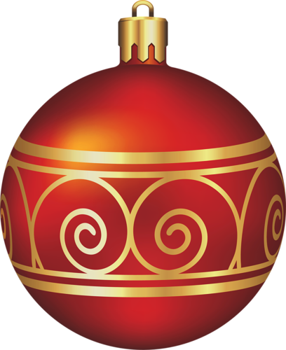 408x500 Large Transparent Red And Gold Christmas Ball Christmas Clip Art