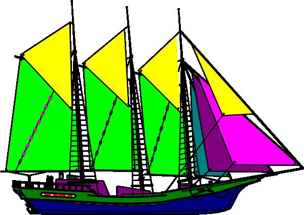 600x425 Large Sailing Ship Yellow Purple Clip Art Free Vector 4vector