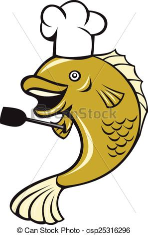 297x470 Cook Chef Largemouth Bass Fish Spatula Cartoon. Illustration