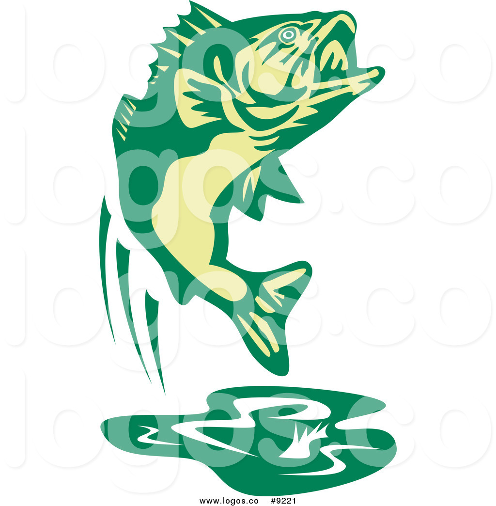 1024x1044 Royalty Free Clip Art Vector Fishing Logo Of A Green Jumping