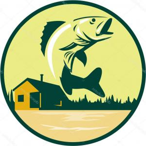 300x300 Royalty Free Clip Art Vector Green Largemouth Bass Logo By