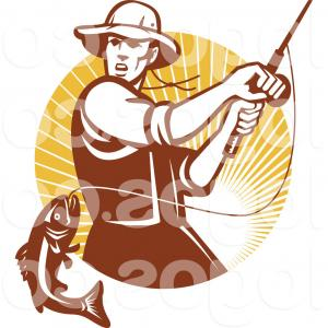300x300 Royalty Free Clip Art Vector Logo Of A Retro Fly Fisherman Reeling