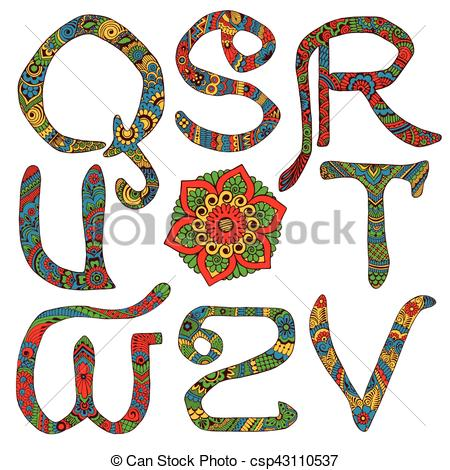 450x470 Latin Letters Decorated. Letters Decorated With Ornaments