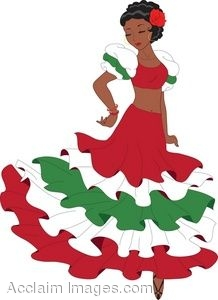 218x300 Clipart Illustration Of A Latino Woman Dancing A Pasa Doble Dance