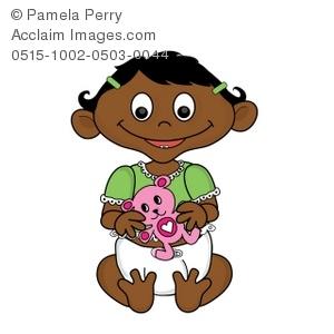 300x300 Cliprt Illustration Of Cartoon Hispanic Baby Girl Holding