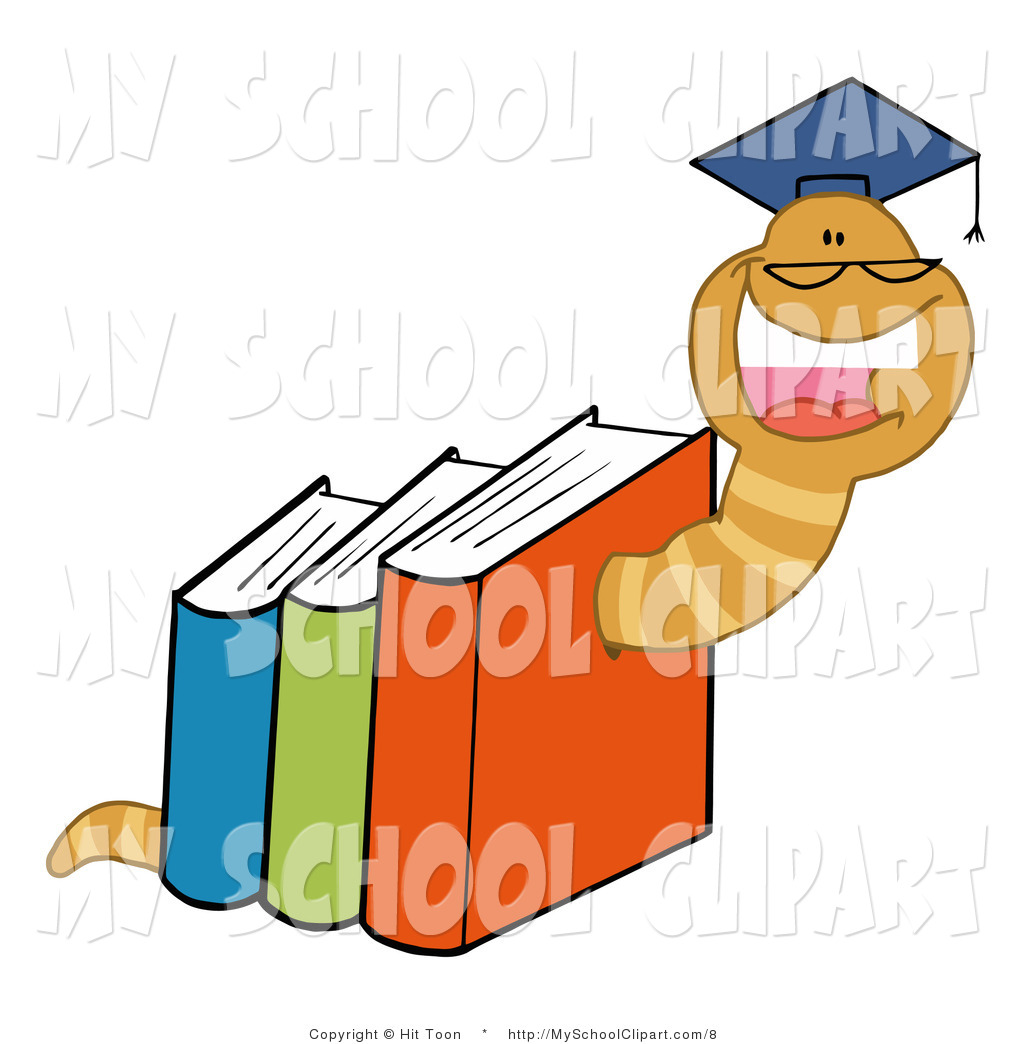 1024x1044 Clip Art Of A Laughing Worm Through Books By Hit Toon