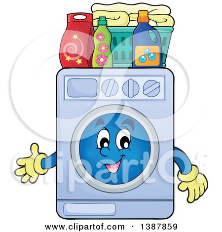450x470 Royalty Free (Rf) Clipart Of Washing Machine Mascots
