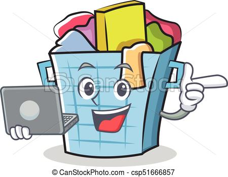 450x350 With Laptop Laundry Basket Character Cartoon Vector Clipart