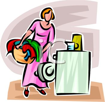 350x339 Woman Loading Clothes Or Laundry Into A Washer Or Washing Machine