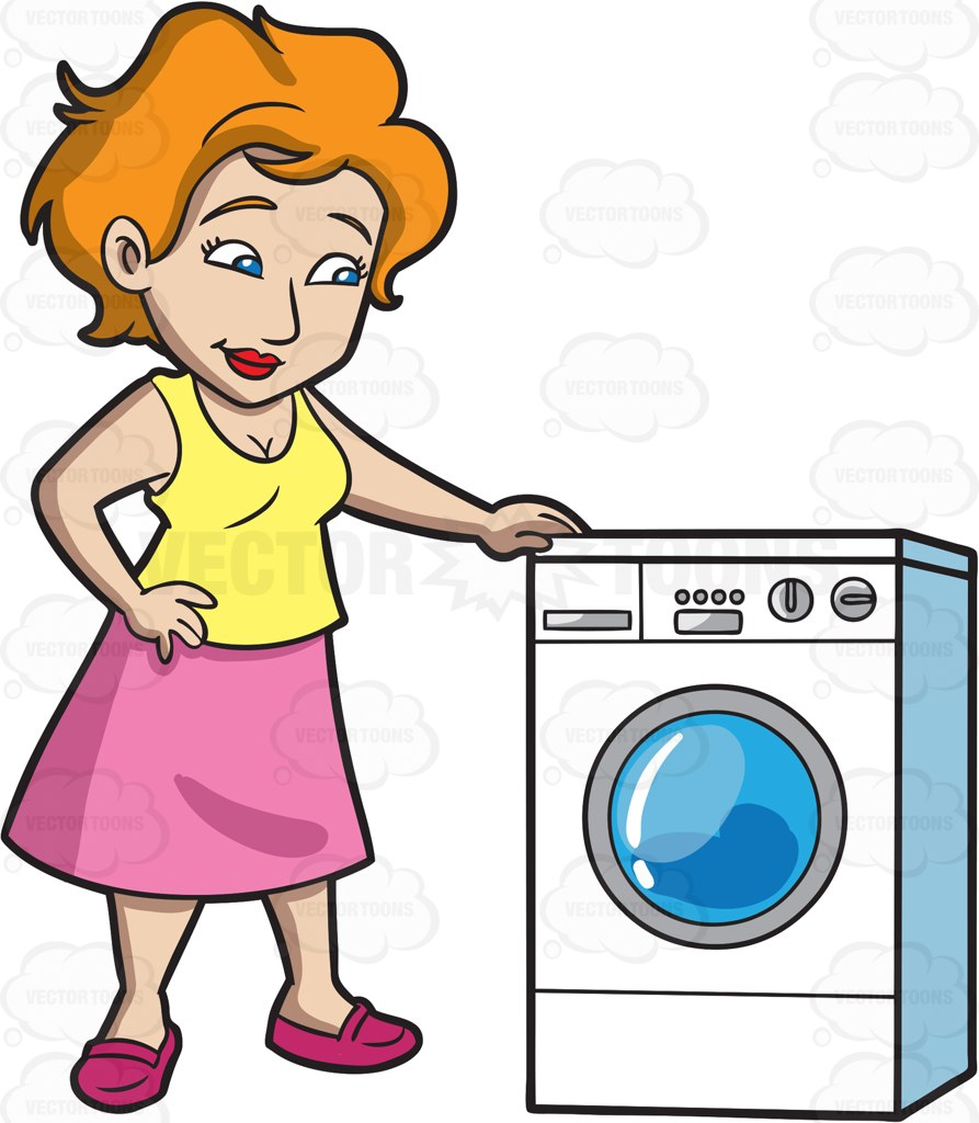 893x1024 A Woman Waits For Her Laundry To Finish Cartoon Clipart Vector Toons