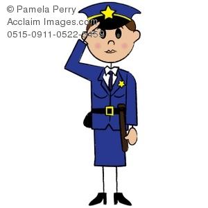 300x300 Clip Art Illustration Of A Stick Figure Female Police Officer