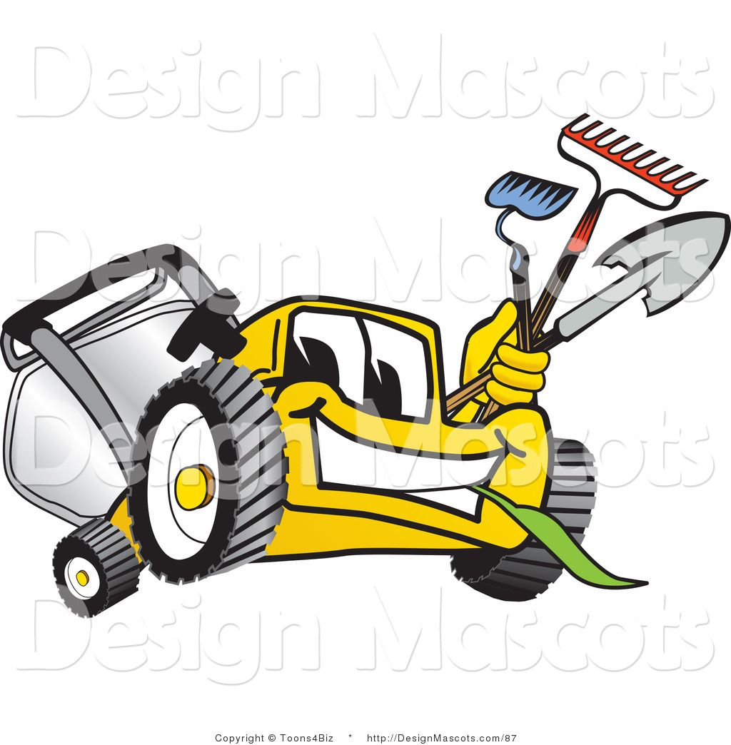 1024x1044 Lawn Clip Art Clipart Of A Yellow Lawn Mower Royalty Free By
