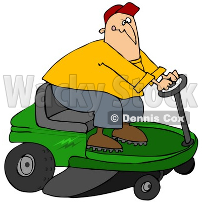 400x400 Clipart Illustration Of A White Guy Biting His Lip While Steering