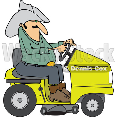 400x400 Clipart Of A Chubby Cowboy Riding A Yellow Lawn Mower