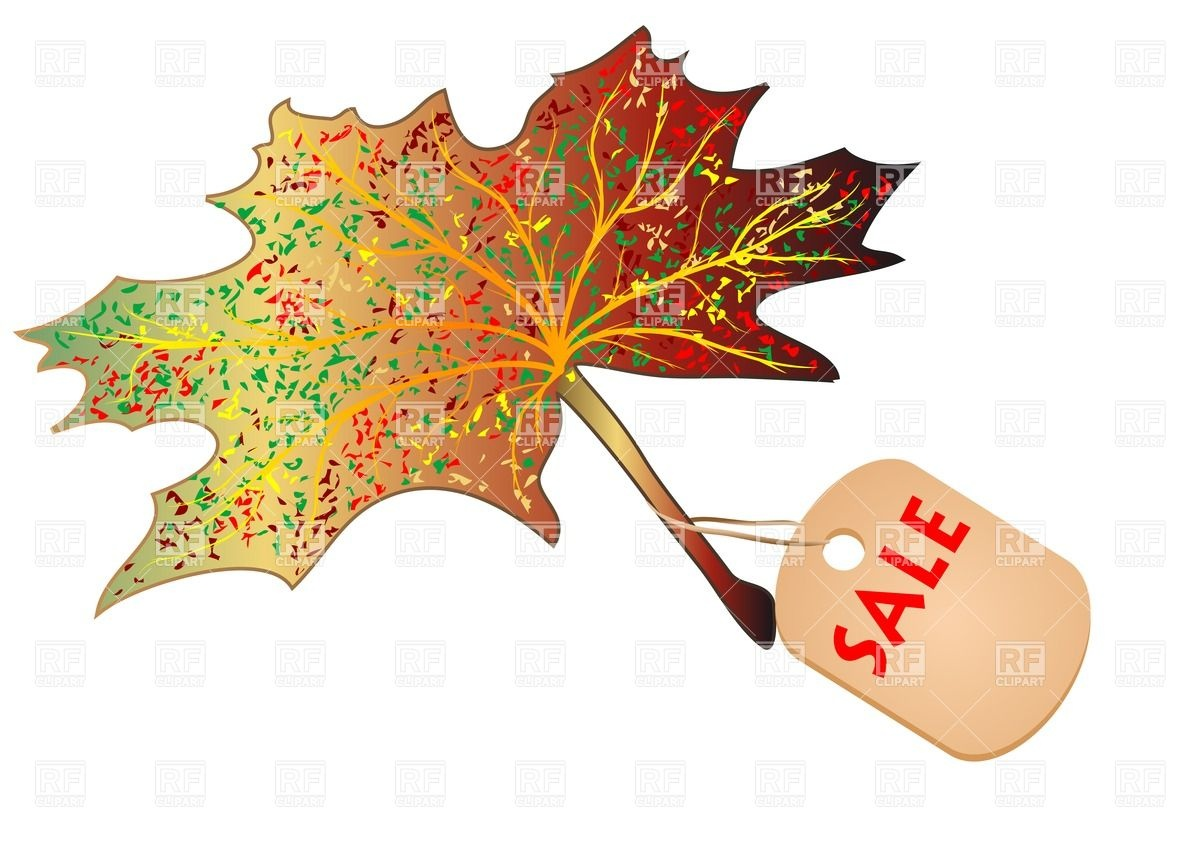 1200x849 Autumn Maple Leaf With Label Royalty Free Vector Clip Art Image