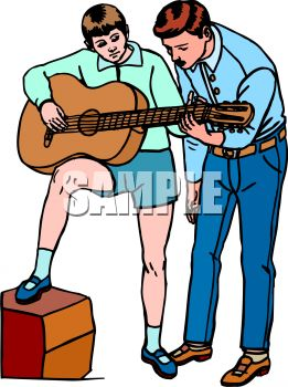 261x350 Learning To Play Guitar With Music Teacher Clip Art