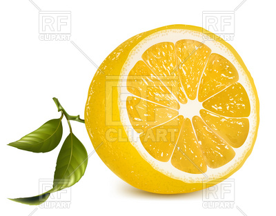 400x313 Fresh Lemon Half With Leaves Royalty Free Vector Clip Art Image