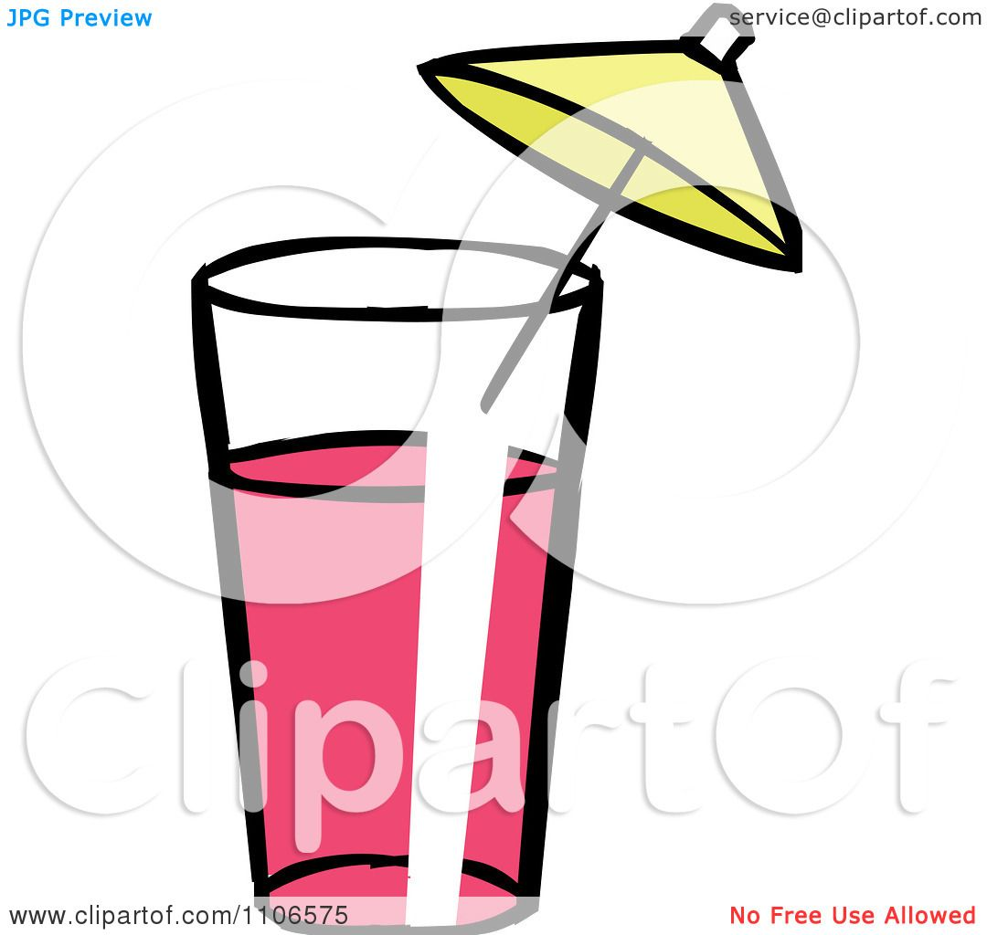 1080x1024 Clipart Glass Of Pink Lemonade With An Umbrella