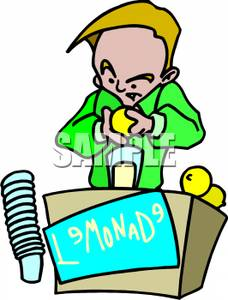 228x300 A Boy Making Lemonade To Sell Clipart Image