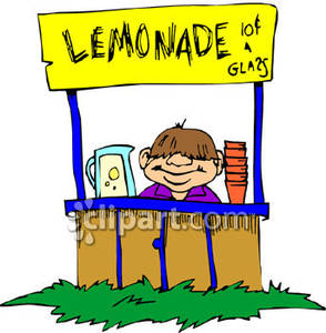 294x300 A Man Or Boy Sitting At A Homemade Lemonade Stand Royalty Free