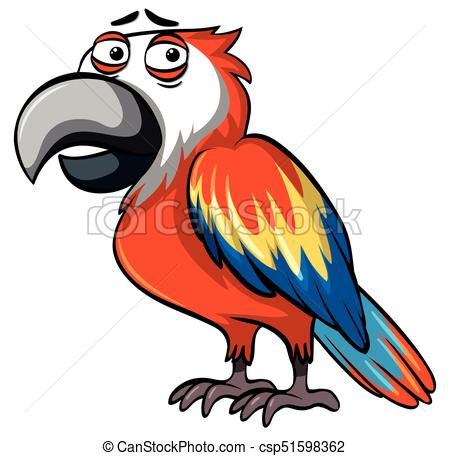 450x456 Parrot With Serious Face Illustration Clip Art Vector