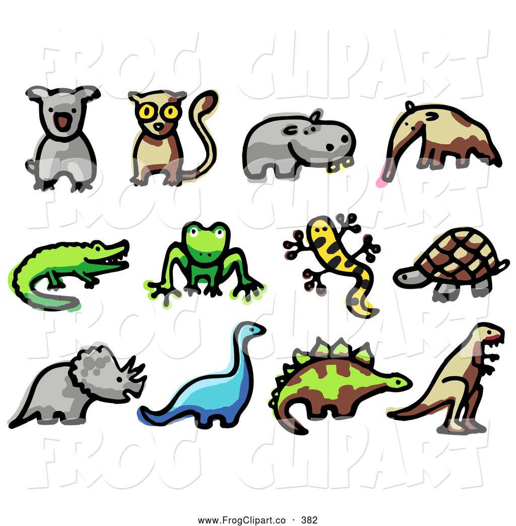 1024x1044 Clip Art Of A Digital Collage Of Cute Animals Koala, Lemur, Hippo