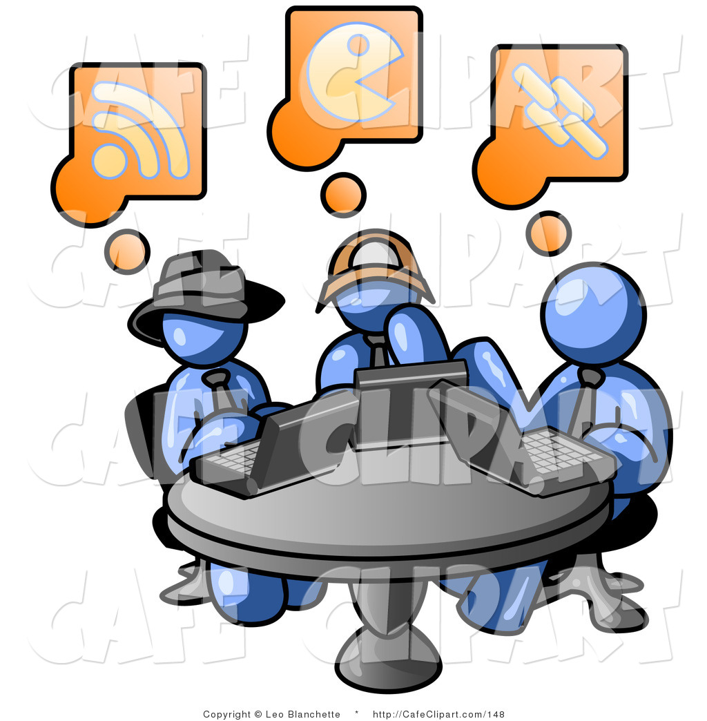 1024x1044 Clip Art Of Three Blue Guys Using Laptops In An Internet Cafe By