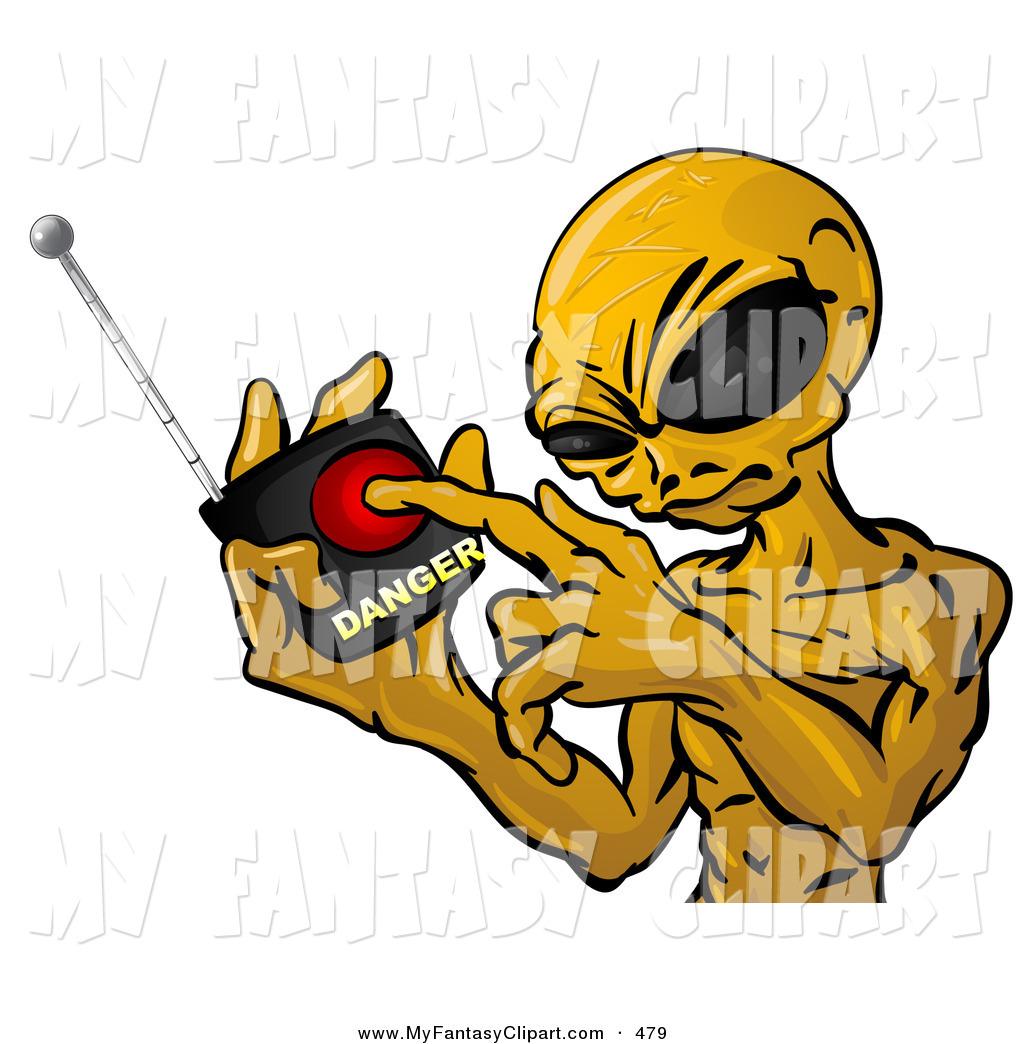1024x1044 Clip Art Of A Mean Orange Alien With Big Black Eyes, Threatening