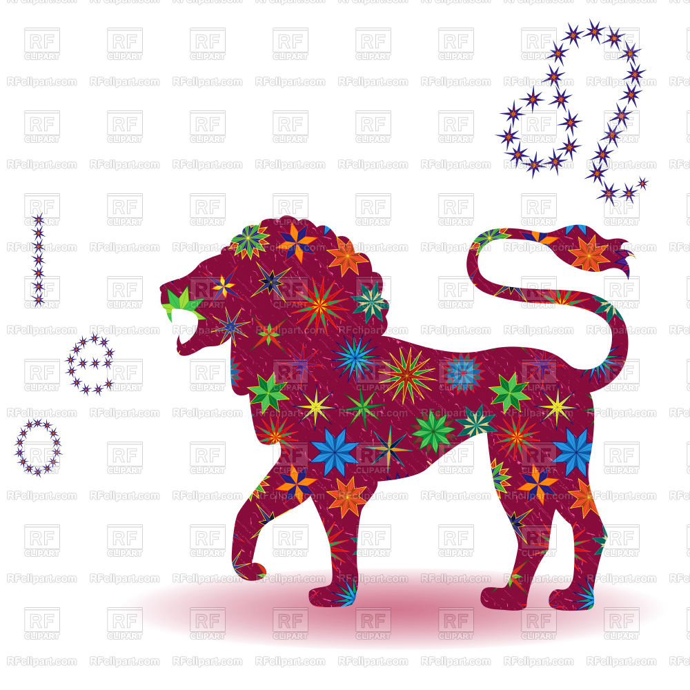 1000x1000 Zodiac Sign Leo With Stylized Multicolor Stars Isolated On