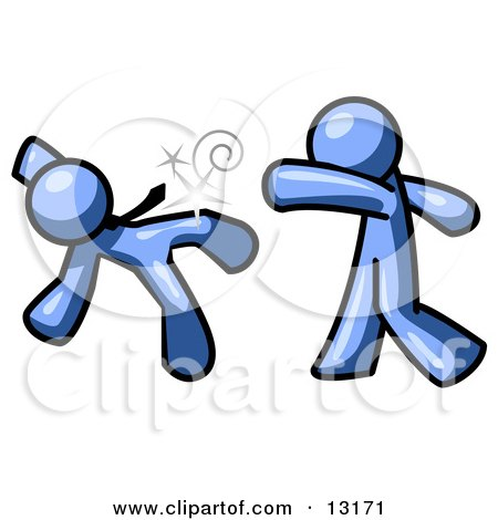 450x470 Blue Man Being Punched By Another Clipart Illustration By Leo