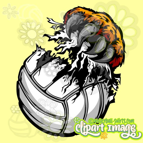 600x600 Leopard Claw Volleyball Clip Art