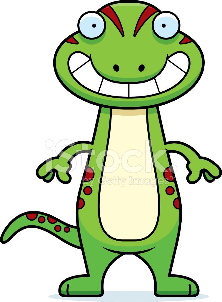 755x1024 Happy Cartoon Gecko Stock Vector