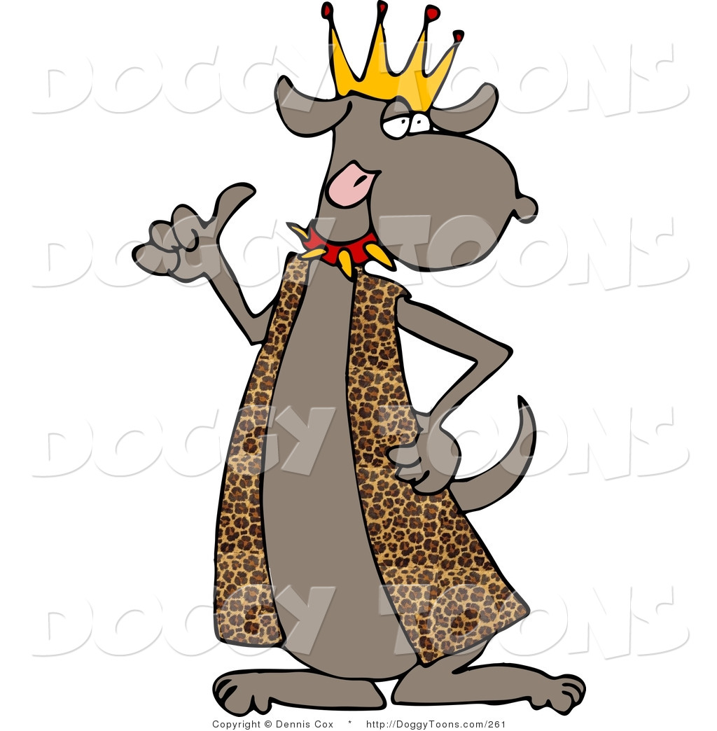 1024x1044 Doggy Clipart Of A Brown Dog King Wearing A Leopard Print Robe