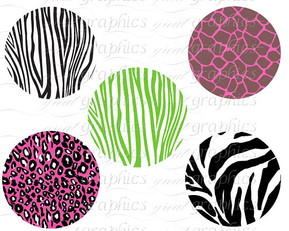570x456 Animal Print Circle Clip Art Digital Clipart Circle Tags, Set