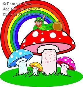 286x300 Clip Art Image Of A Leprechaun Sitting On Magic Mushrooms