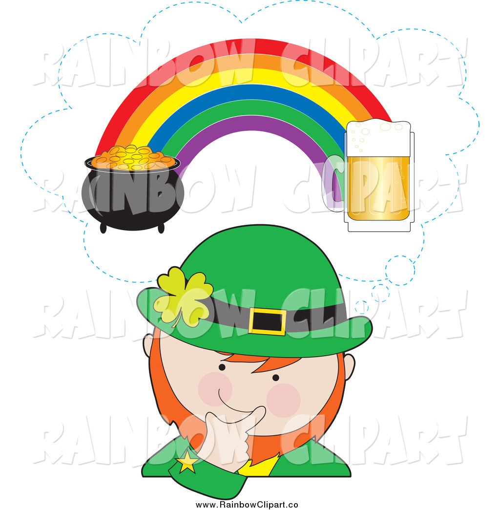 1024x1044 Vector Clip Art Of A Leprechaun Thinking Of Beer And A Pot Of Gold