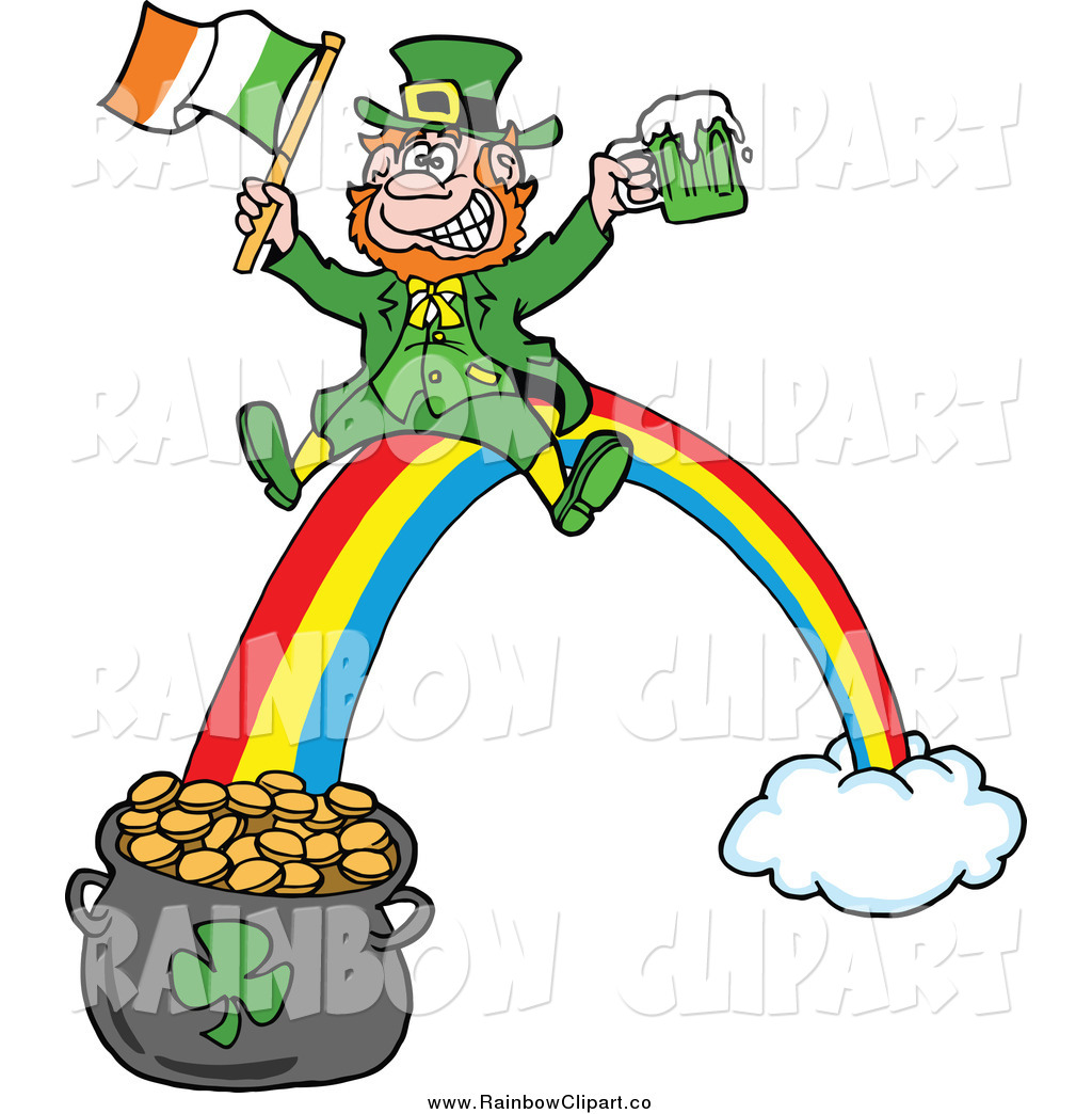 1024x1044 Vector Clip Art Of A Leprechaun With Beer And An Irish Flag