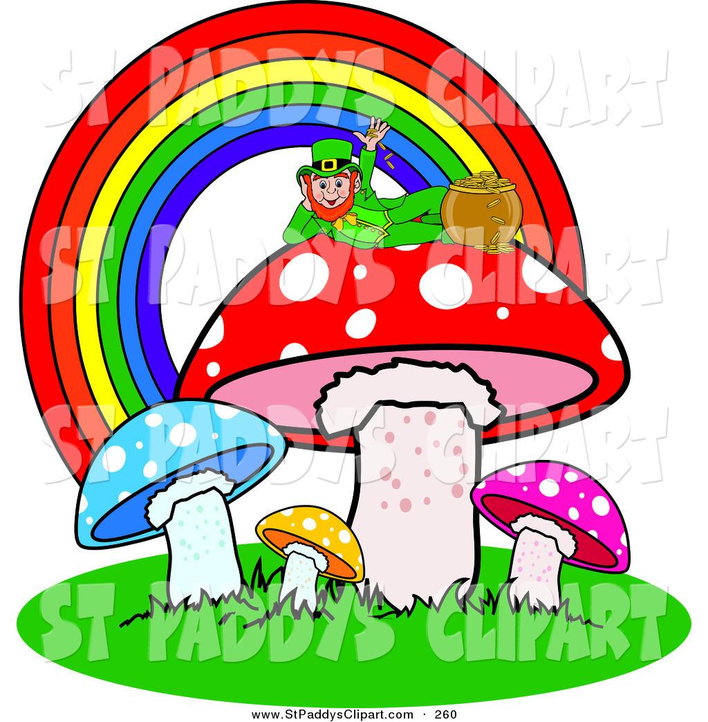 1024x1044 Vector Clip Art Of An Irish Leprechaun Reclined Atop A Mushroom