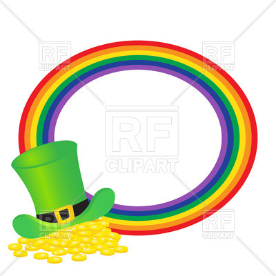 400x400 Hat Of Leprechauns Gold And Round Rainbow Royalty Free Vector Clip