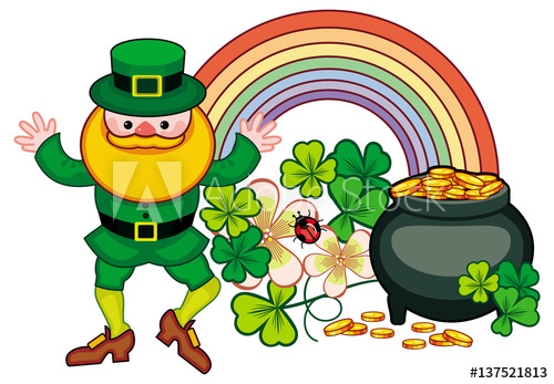 500x347 Holiday Label With Shamrock, Rainbow, Leprechaun And A Pot Of Gold