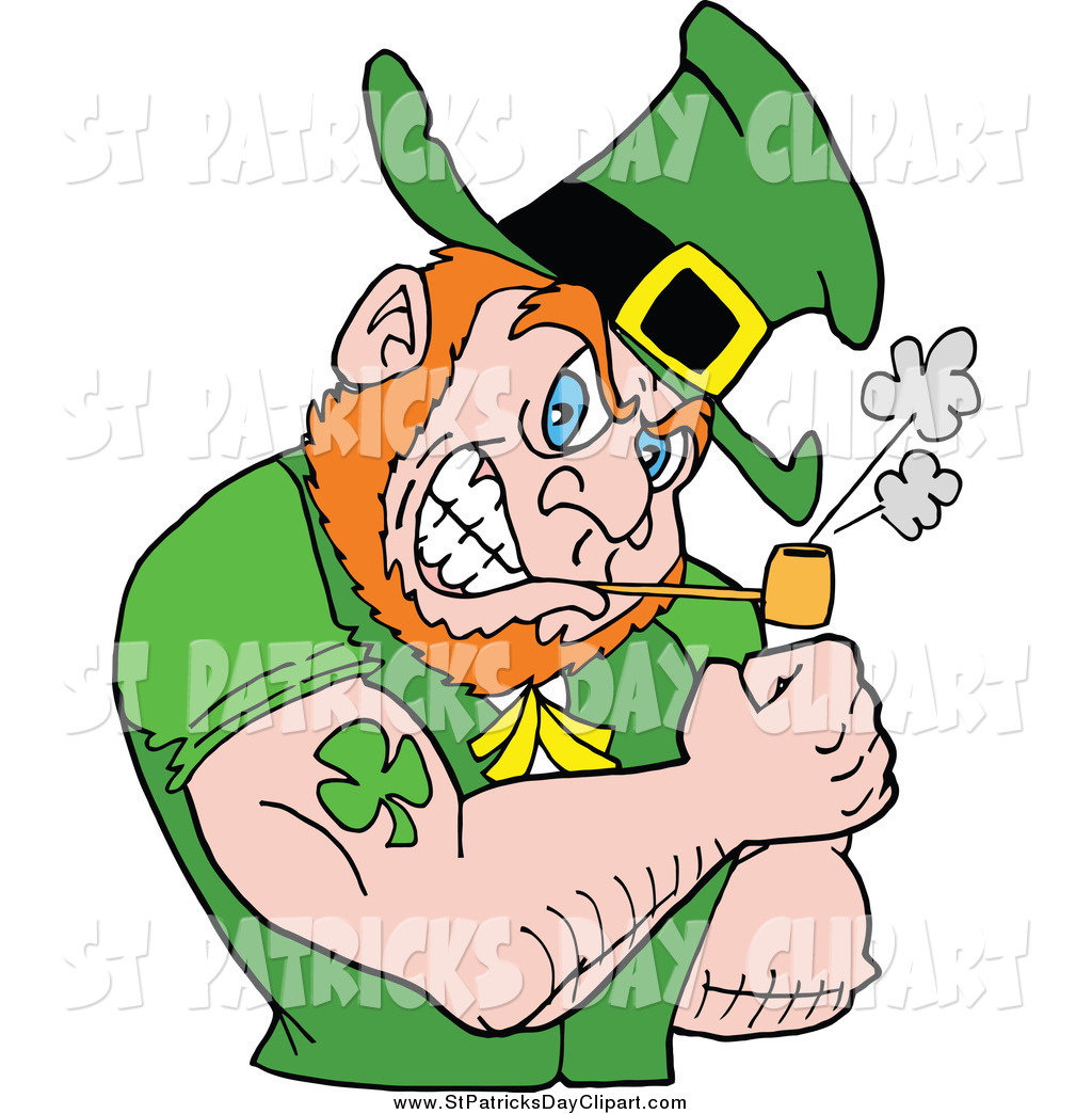 1024x1044 Clip Art Of A Buff Leprechaun Smoking A Pipe And Flexing His